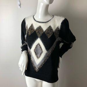 80's Angora blend sweater Geometric Puff Sleeves